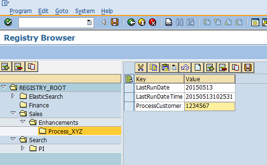 ABAP registry editor